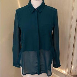 Lush Hunter Green Blouse Sheer Sleeves and Bottom
